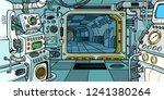 cabin of the spacecraft. pop... | Shutterstock .eps vector #1241380264