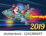 2019 new year. santa claus with ... | Shutterstock .eps vector #1241380657