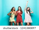 joyful tanned european girl...   Shutterstock . vector #1241380897