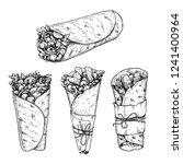 burritos set. hand drawn sketch ... | Shutterstock .eps vector #1241400964