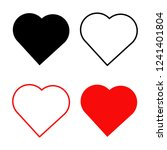 Stock vector love hearts set of vector icons isolated on white background 1241401804