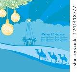 birth of jesus in bethlehem  ... | Shutterstock . vector #1241413777