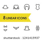 clothes icons set with hair ...