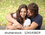 pretty couple hugging and... | Shutterstock . vector #124143829
