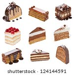 collection of  various cakes on ... | Shutterstock . vector #124144591