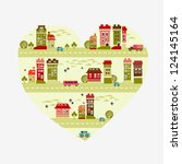 city love   heart shape with... | Shutterstock .eps vector #124145164