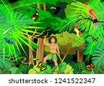 jungle vector scene  aborigen ... | Shutterstock .eps vector #1241522347