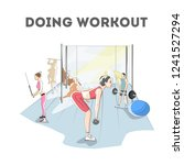 woman doing exercises in the... | Shutterstock .eps vector #1241527294