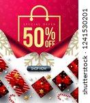 shopping bag poster new year 50 ... | Shutterstock .eps vector #1241530201