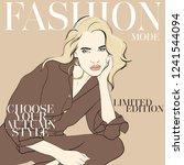 fashion woman sketch. beautiful ...   Shutterstock .eps vector #1241544094