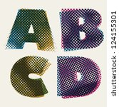 halftone dots font  dirty... | Shutterstock .eps vector #124155301