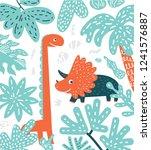 cute vector dinosaurs set in...   Shutterstock .eps vector #1241576887