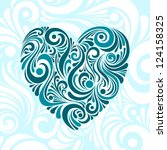 Vector Blue Floral Heart