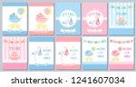 baby shower boy card. vector... | Shutterstock .eps vector #1241607034