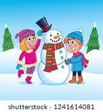 kids building a snowman | Shutterstock .eps vector #1241614081