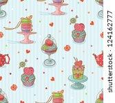 cupcake seamless pattern | Shutterstock .eps vector #124162777
