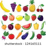 cartoon vegetables and fruits | Shutterstock .eps vector #124165111