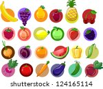 cartoon vegetables and fruits | Shutterstock .eps vector #124165114
