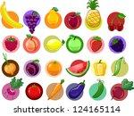 cartoon vegetables and fruits   Shutterstock .eps vector #124165114