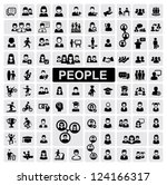 vector black people icons set... | Shutterstock .eps vector #124166317