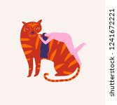 tiger and a girl hugging... | Shutterstock .eps vector #1241672221