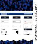 dark blue vector web ui kit in...
