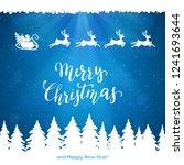 santa with reindeers flies over ... | Shutterstock . vector #1241693644
