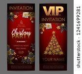 christmas poster with golden...   Shutterstock .eps vector #1241699281