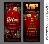 christmas poster with golden...   Shutterstock .eps vector #1241699284