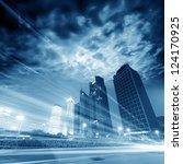 the light trails on the modern... | Shutterstock . vector #124170925
