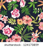 tropical flower seamless vector ... | Shutterstock .eps vector #124173859