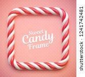 Candy Cane Frame On Polka Dot...