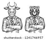 bull and bear head stock... | Shutterstock .eps vector #1241746957