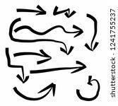 black arrow set hand drawing...   Shutterstock .eps vector #1241755237