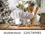 cook hat and christmas home... | Shutterstock . vector #1241769481