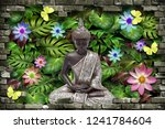 3d wallpaper  buddha sitting in ... | Shutterstock . vector #1241784604