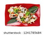 top view plate of seafood salad ... | Shutterstock . vector #1241785684