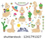 llama set. baby llamas cartoon... | Shutterstock .eps vector #1241791327