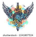 swords  rose and angel wings... | Shutterstock .eps vector #1241807524