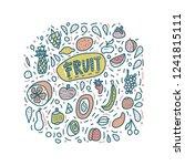 fruit vector concept in doodle... | Shutterstock .eps vector #1241815111
