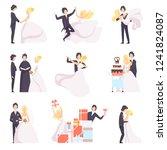 happy wedding couple set  bride ... | Shutterstock .eps vector #1241824087
