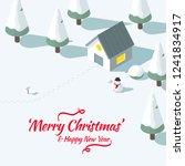 a snowy house in winter in...   Shutterstock .eps vector #1241834917