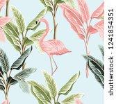 tropical vintage pink flamingo... | Shutterstock .eps vector #1241854351