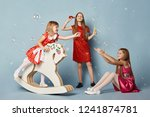 little girls have fun and play  ... | Shutterstock . vector #1241874781