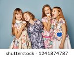little girls have fun and play  ... | Shutterstock . vector #1241874787