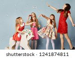 little girls have fun and play  ... | Shutterstock . vector #1241874811