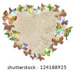 Beautiful Valentine's background with heart and butterfly, illustration, vector - stock vector