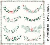 christmas set of vintage floral ... | Shutterstock .eps vector #1241940037