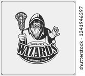 Lacrosse club emblem with wizard or magician. Print design for t-shirts.