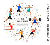 athletes with prosthetic legs... | Shutterstock .eps vector #1241947534